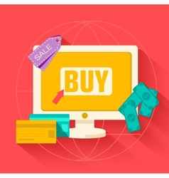 flat commerce internet buy background concept vector image vector image