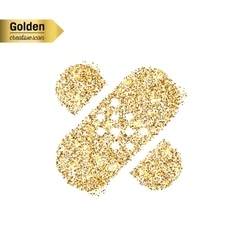 Gold glitter icon of bandaid isolated on vector