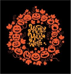 Halloween card - orange silhouette of pumpkins vector image