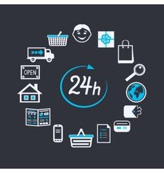 Internet website store open 24 hours vector