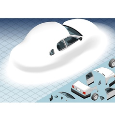 Isometric Snow Capped White Car in Rear View vector image vector image