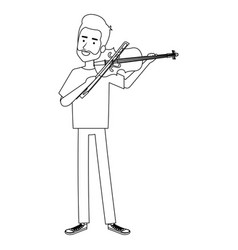 Man playing fiddle character vector