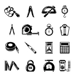 Measure precision icons set simple style vector