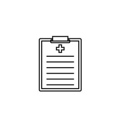 medical clipboard line icon medical form vector image