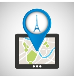 mobile device tower eiffel france gps map vector image