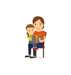 Mother and daughter reading book vector image