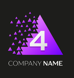number four logo in the colorful triangle vector image vector image