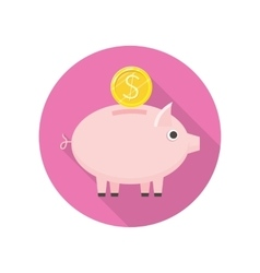 Piggybank Icon in Flat Style Design vector image vector image