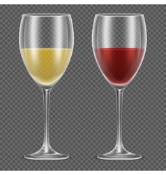 Realistic wineglasses with red and white vector image vector image