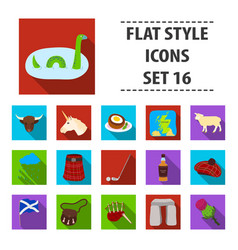 scotland country set icons in flat style big vector image vector image