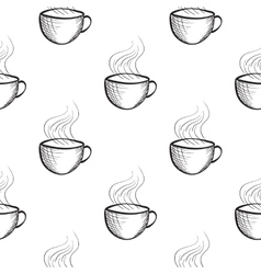 Seamless pattern with hand drawn sketchy tea and vector