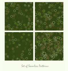set of seamless patterns spirals and circles vector image