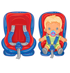 Small child in car seat vector