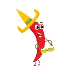 Smiling chili pepper in Mexican sombrero playing vector image vector image