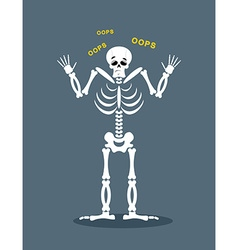Surprised skeleton says oops perplexed skull vector
