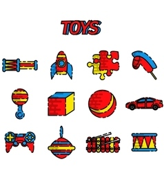 Toys flat icon set vector
