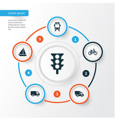 Transport icons set collection of stoplight vector