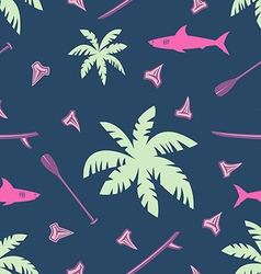 tropical surfing seamless pattern vector image