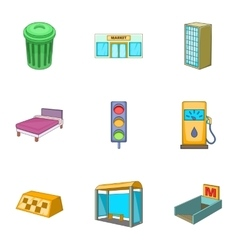 Urban elements icons set cartoon style vector image vector image