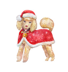 Watercolor dog in red santa claus clothes smiling vector