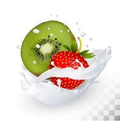 Strawberry and kiwi in a milk splash on a vector