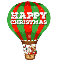 Happy christmas with santa in balloon vector