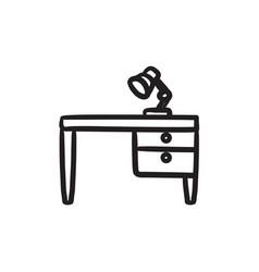 Desk lamp on table sketch icon vector