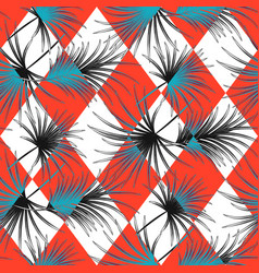 palm leaves and harlequin rhombs seamless vector image