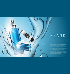 3d realistic cosmetic product spray bottle and vector image