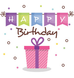 Happy birthday card with giftbox vector