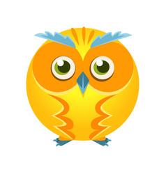 Cute yellow geometric owl bird colorful cartoon vector