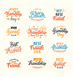 Happy friendship day hand lettering big set vector