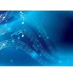 Blue abstract background with music notes vector