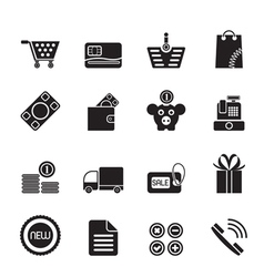 Silhouette Online shop icons vector image