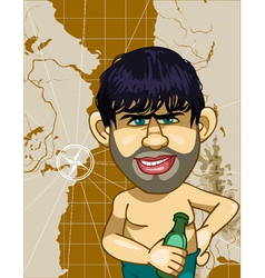 Caricature a man with a bottle on a background map vector