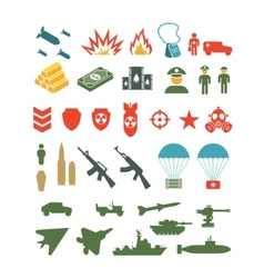 Set of flat military infographics icons vector
