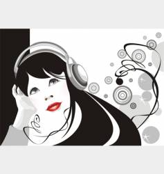 Girl listens to music vector