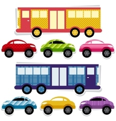 Set of textured cars and buses vector