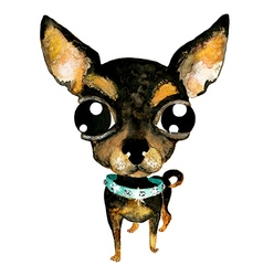 Watercolor hand drawn cute chihuahua dog vector