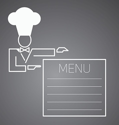 Flat character chef menu vector