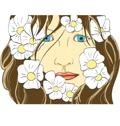 Face of the girl in flowers vector