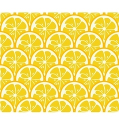 Cute seamless pattern with yellow lemon slices vector