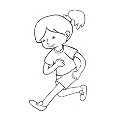 Run girl contour vector