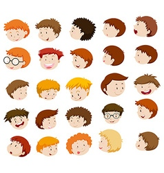Boy heads with different expressions vector