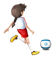A girl playing with the flag of Israel vector image