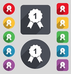 award medal icon sign A set of 12 colored buttons vector image vector image