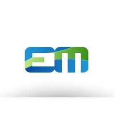 Blue green em e m alphabet letter logo vector
