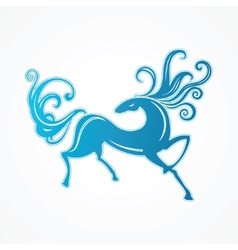 blue horse vector image vector image