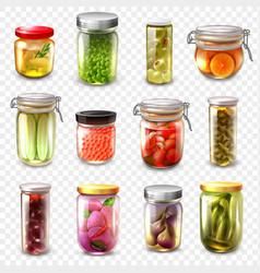 Canned goods set transparent background vector
