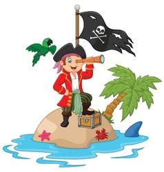 Cartoon captain holding binoculars vector image vector image